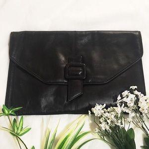 Handbags - Large Black 💯%Genuine Leather Envelope Clutch